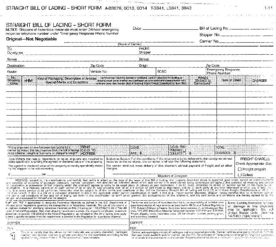 Adams B3876 Bill Of Lading Forms