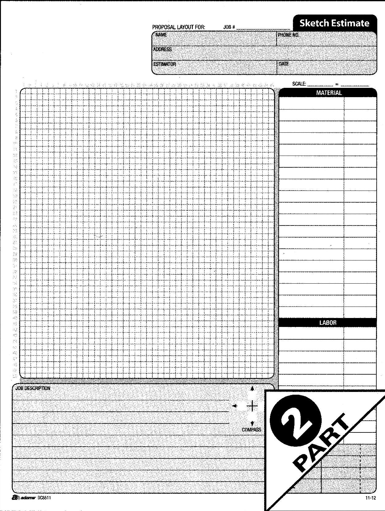 category adams dc8511 sketch estimate pad 2 part