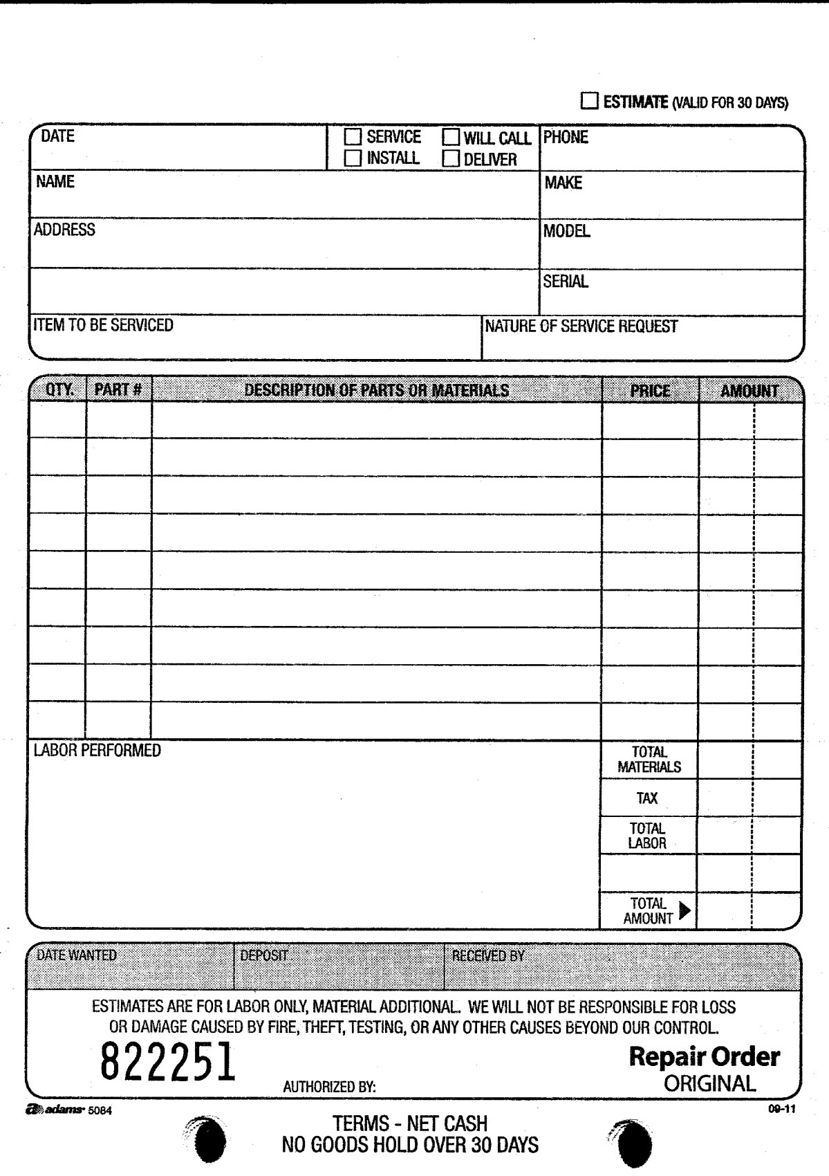 adams d5084 repair order book
