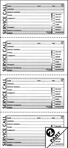 Adams SC1155 Service Call Books 2-Part